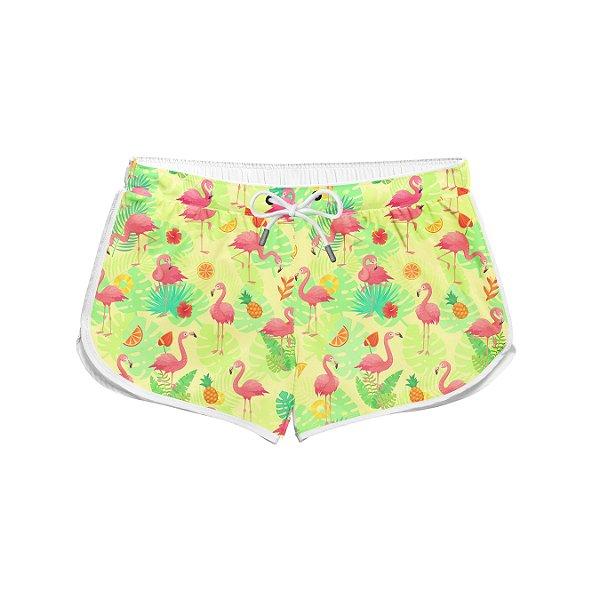 Short Feminino Verão Exotic Pink Flamingos