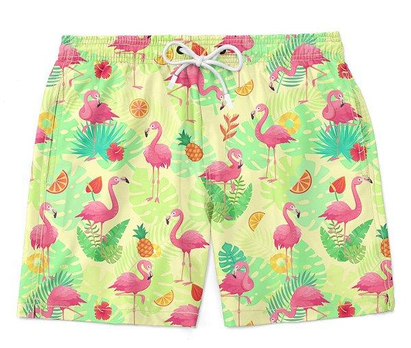 Bermuda Short Praia Verão Exotic Pink Flamingos