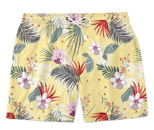 Bermuda Short Praia Verão Floral Amarelo