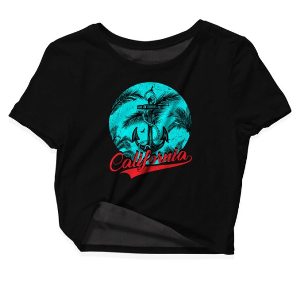 Camiseta Cropped Praia California