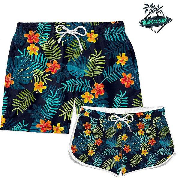 Kit Casal Short Praia Summer Flowers