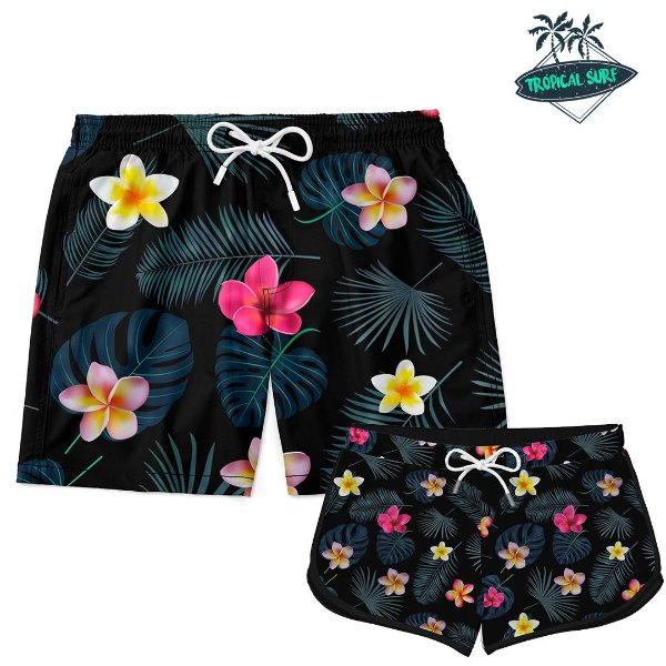 Kit Casal Short Praia Little Flowers