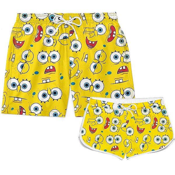 Kit Casal Short Verão Square Pants