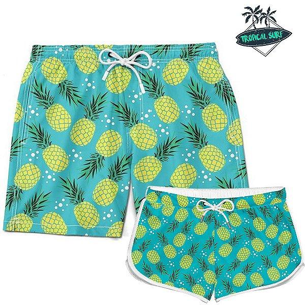 Kit Casal Short Verão Pineapple