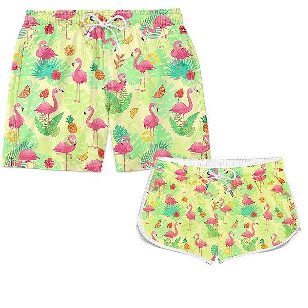 Kit Casal Short Verão Exotic Pink Flamingos