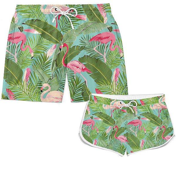 Kit Casal Short Verão Flamingos