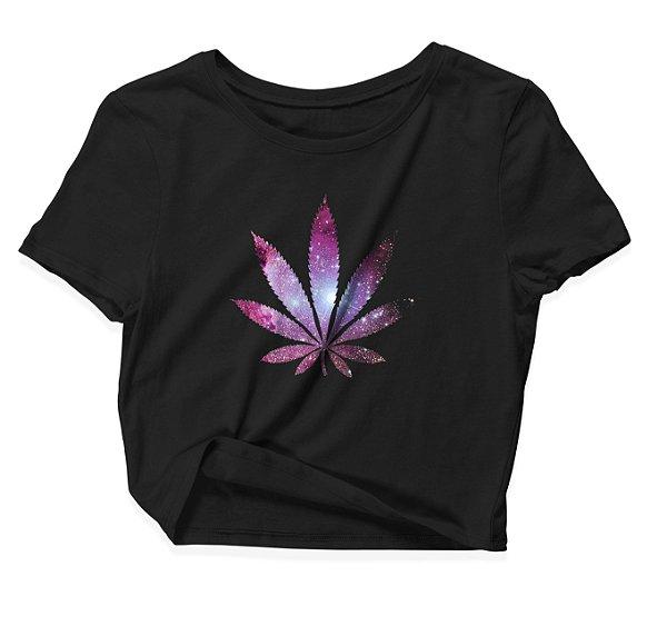 Camiseta Cropped Weed Glitter