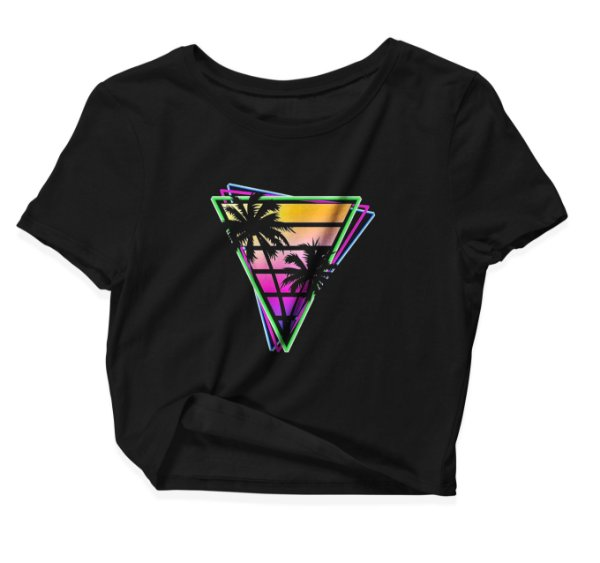 Camiseta Cropped Tropical Neon