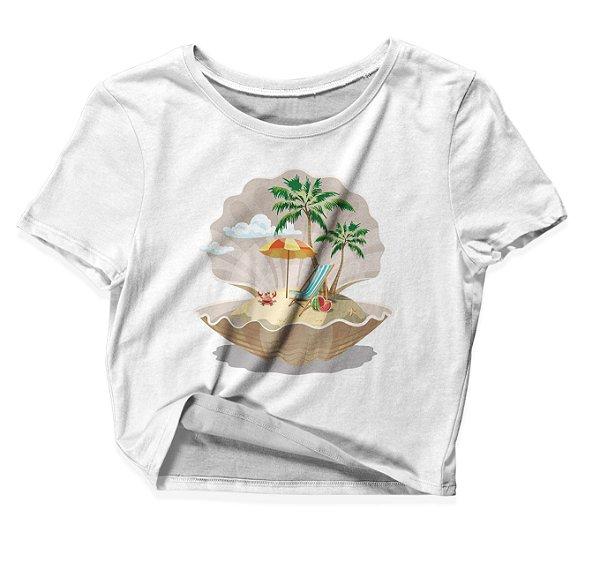 Camiseta Cropped Praia Pérola