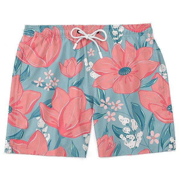 Bermuda Short Praia Verão Flores Rosas E Fundo Azul