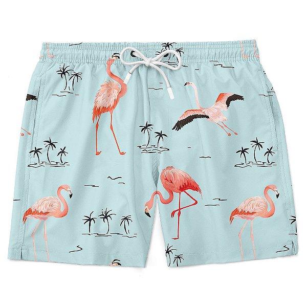 Bermuda Short Praia Verão Flamingos e Praias