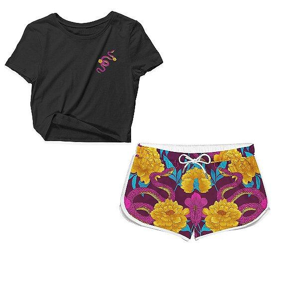 Kit Camiseta Cropped e Short Praia Snake