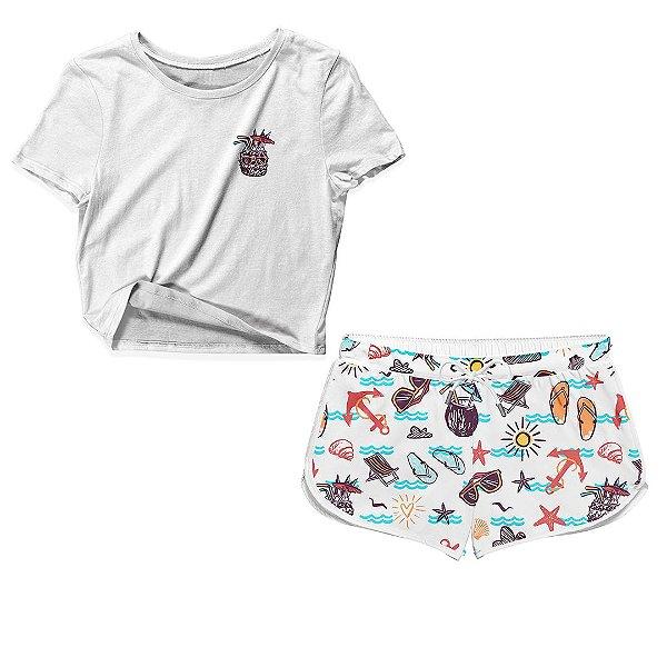 Kit Camiseta Cropped e Short Praia Summer Beach