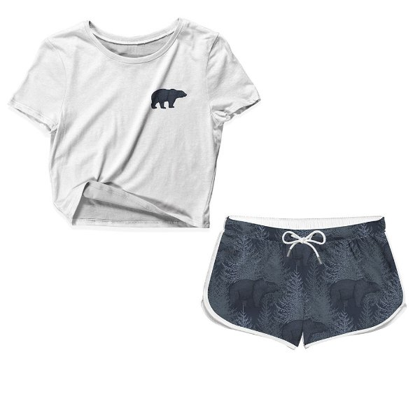 Kit Camiseta Cropped e Short Praia Urso