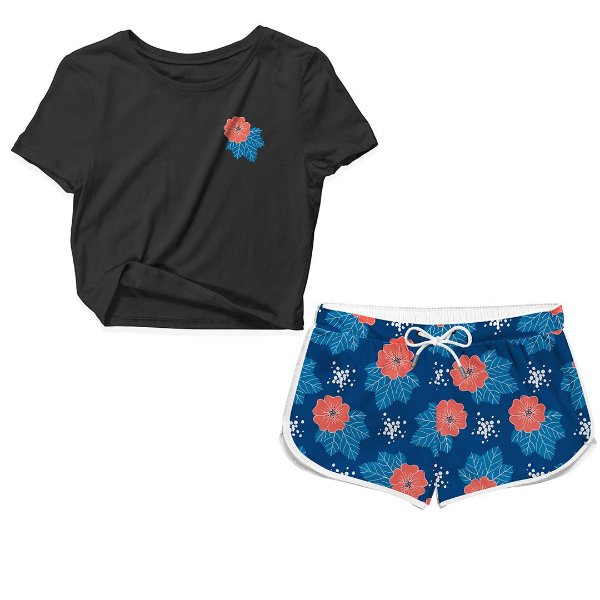 Kit Camiseta Cropped e Short Praia Florido