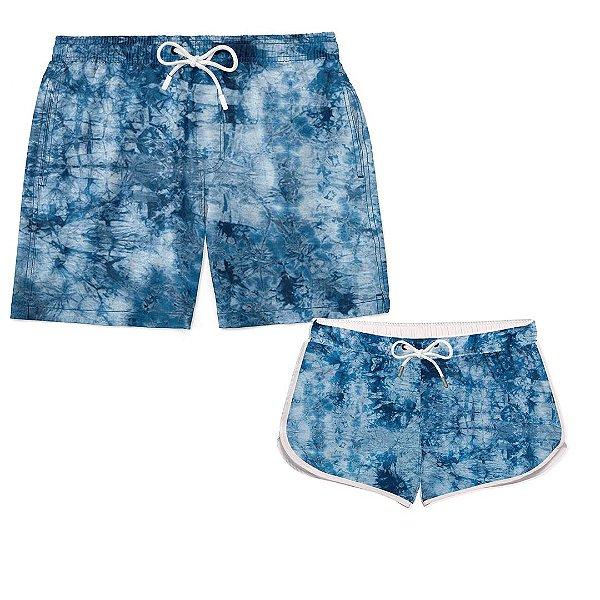 Kit Casal Praia Tie Dye Azul