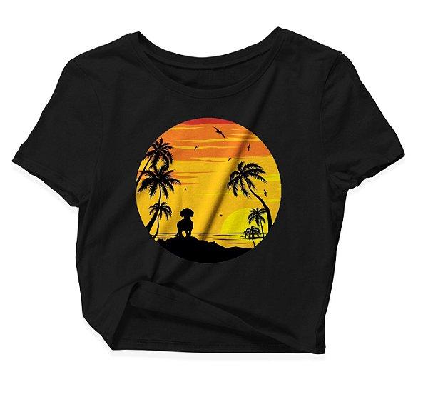 Camiseta Cropped Dog Pôr-do-sol