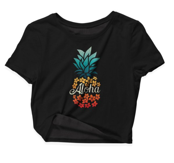Camiseta Cropped Aloha Pineapple