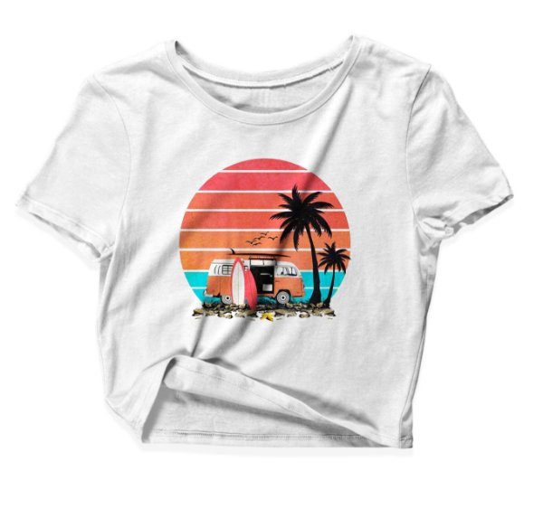 Camiseta Cropped Pôr-do-sol Kombi