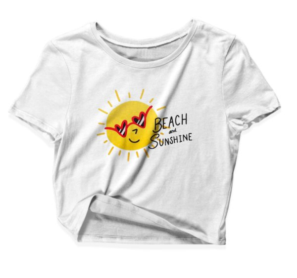 Camiseta Cropped Beach and Sunshine