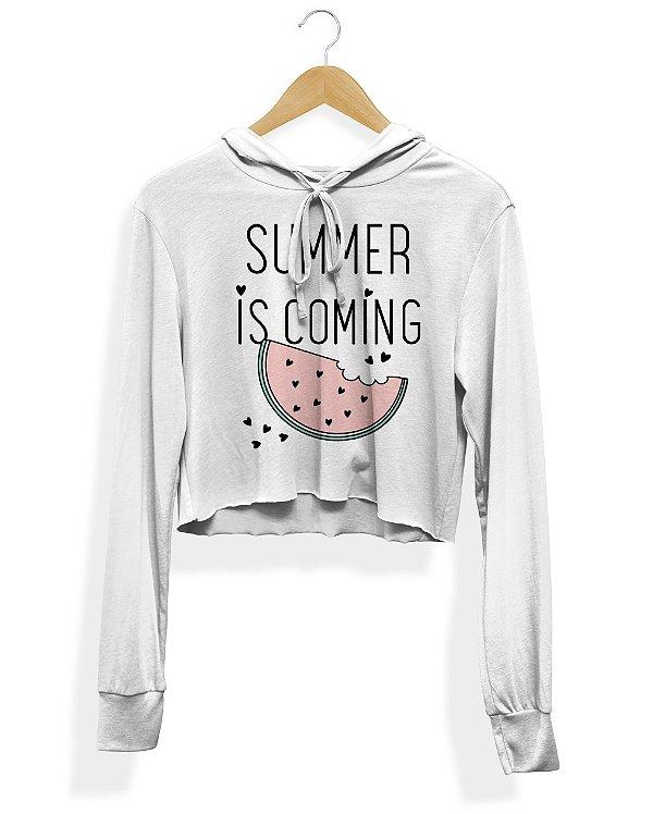 Cropped Moletom Canguru Summer Is Coming