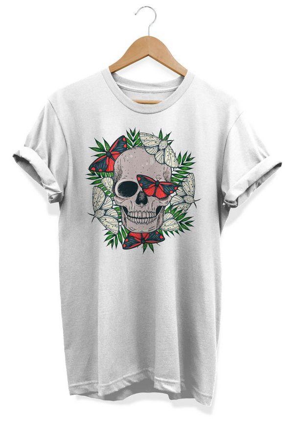 Camiseta Unissex Tropical Skull