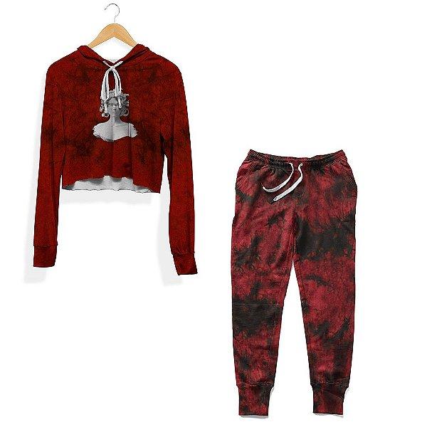Kit Cropped e Calça Tie Dye Vermelho