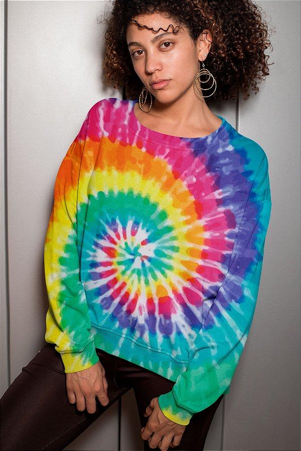 Moletom Gola Redonda Tie Dye Rainbow