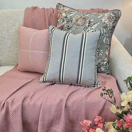 Kit Big Cotone Flores Cinza e Rosa Blush e Listra Cinza Fuligem