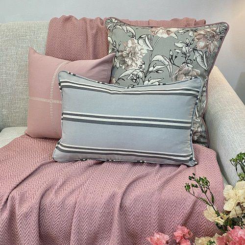 Kit Big Cotone Flores Cinza e Rosa Blush e Baguete Listra Cinza Fuligem