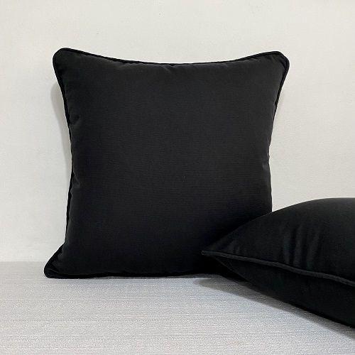 Capa Para Almofada Com Vivo Cotone Preto