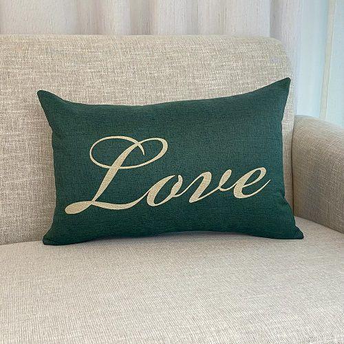 Capa Para Almofada Verde Bordada Love