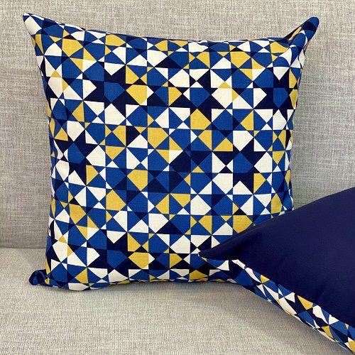 Capa Para Almofada Dupla Face Grécia Azul e Amarelo
