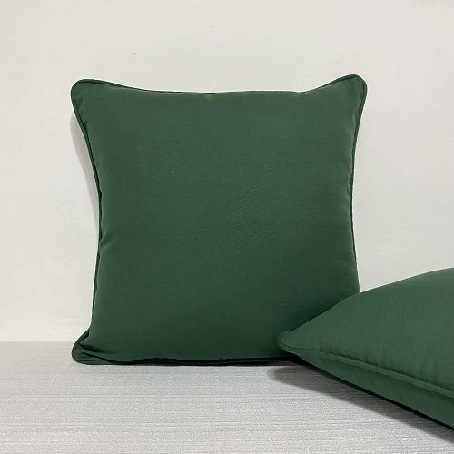 Capa Para Almofada Com Vivo Cotone Verde Garrafa
