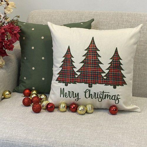 Kit Merry Christmas Aplicação Arvore Xadrez e Bordada Poá Verde