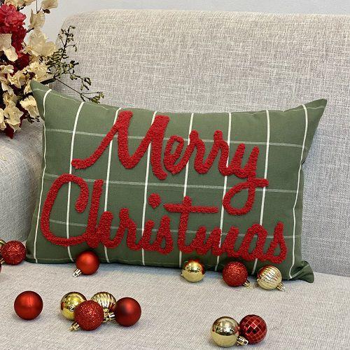 Capa para Almofada Bordada Fluffy Merry Christmas Vermelho
