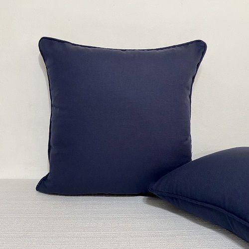 Capa Para Almofada Com Vivo Cotone Azul Marinho