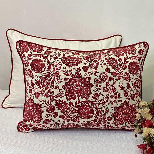 Porta Travesseiro Dupla Face Cotone Flores Vermelho
