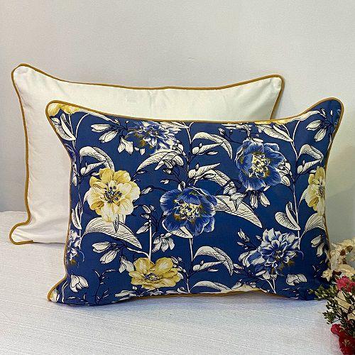 Porta Travesseiro Dupla Face Cotone Flores Azul  e Amarelo