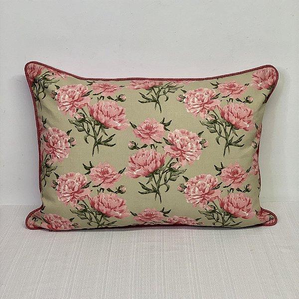 Porta Travesseiro Dupla Face Florata Flores Rosé