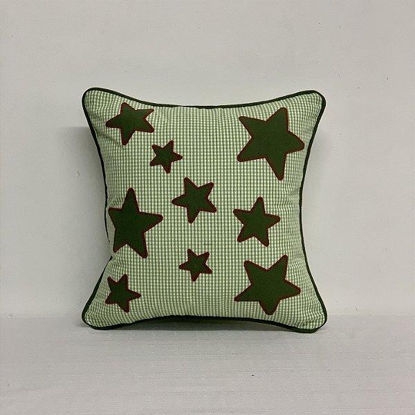 Capa Para Almofada Xadrezinho Estrelas Musgo