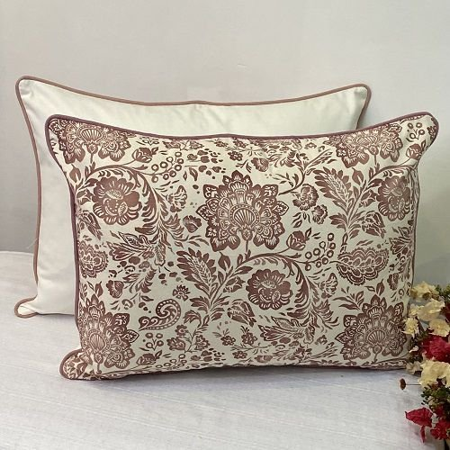 Porta Travesseiro Dupla Face Cotone Flores Rosa Blush