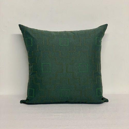 Capa Para Almofada Verde Bordada Floco