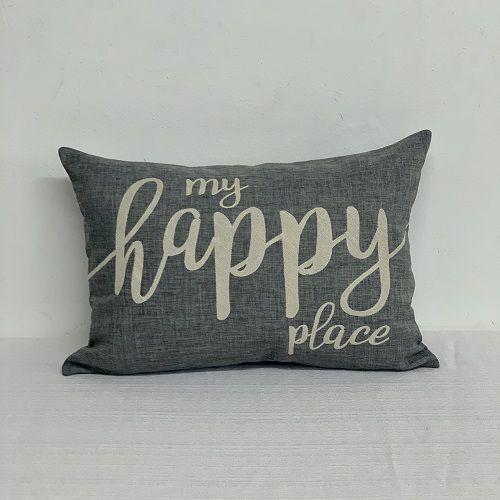 Capa Para Almofada Chumbo Bordada My Happy Place