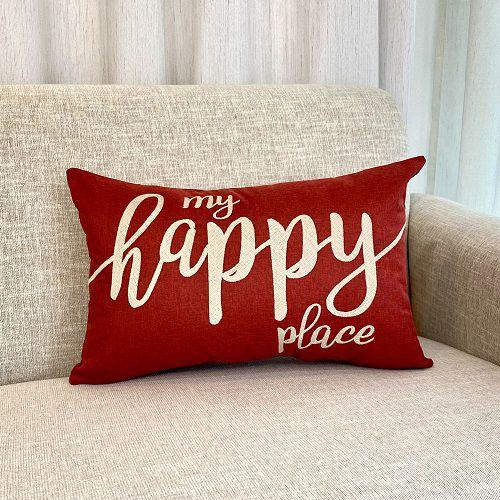 Capa Para Almofada  Vermelha Bordada My Happy Place