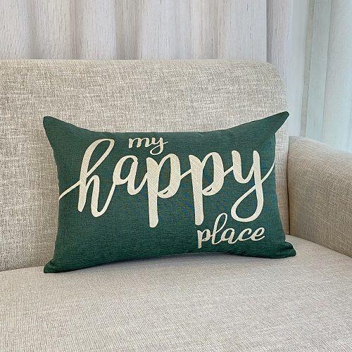 Capa Para Almofada Verde Bordada My Happy Place