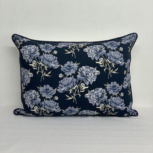 Porta Travesseiro Dupla Face Florata Flores Marinho
