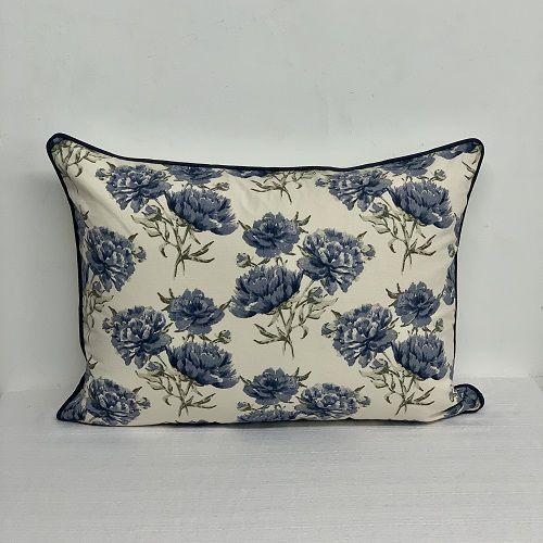 Porta Travesseiro Dupla Face Florata Flores Azul