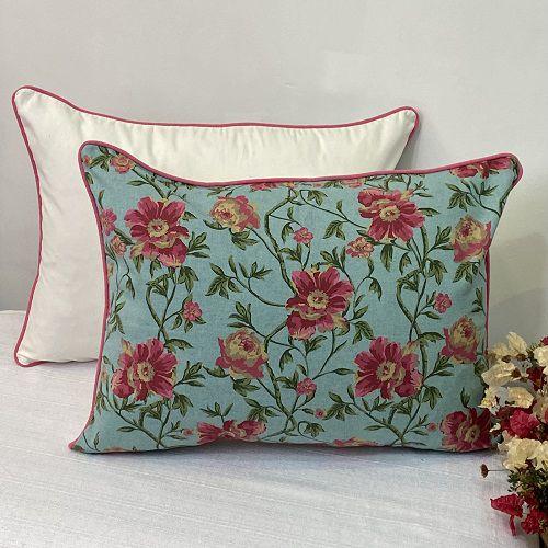 Porta Travesseiro Dupla Face  Lys Floral Turquesa