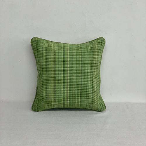 Capa Para Almofada Com Vivo Rajado Verde Folha